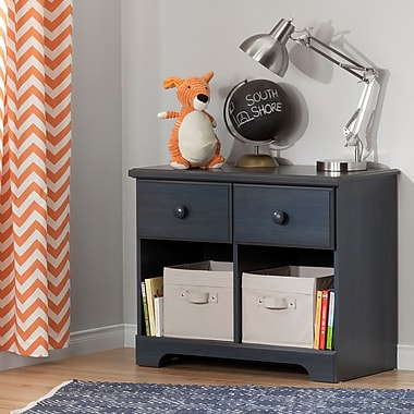 South Shore Summer Breeze 2-Drawer Double Nightstand, Blueberry (10206)