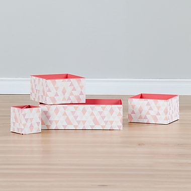 South Shore Storit White and Pink 3 Printed Cardboard Boxes and 1 Pencil Cup with Pattern (100058)