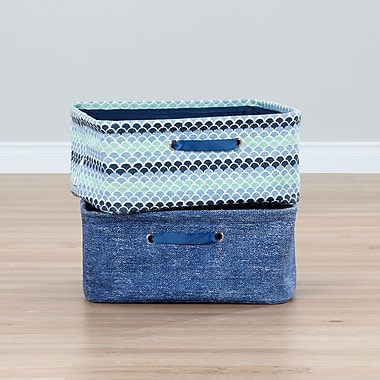 South Shore Storit Blue Nightstand Baskets with Chambray and Scales Pattern, 2-Pack (100057)