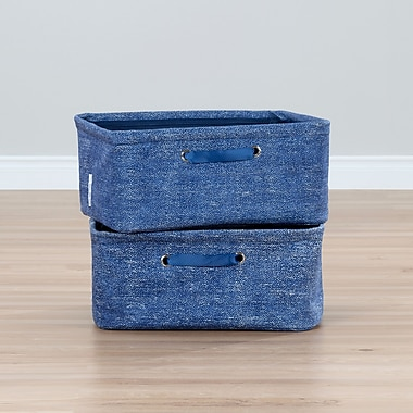 South Shore Storit Blue Nightstand Baskets with Chambray Pattern, 2-Pack (100056)