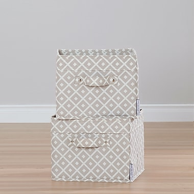 South Shore Storit Beige Canvas Baskets with Pattern, 2-Pack (100035)