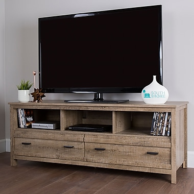South Shore Exhibit TV Stand for TVs up to 60'', Weathered Oak (10394)