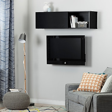 South Shore City Life Wall Mounted Storage Unit, Black Oak (10377)