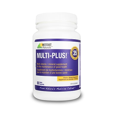 Westcoast Naturals 30236, Multi-plus! Adult Vitamin & Minerals Tabs, 90 Tablets, White