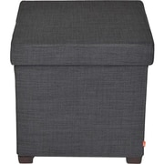 "Atlantic Dar® 17"" x 17"" Storage Ottoman with Wooden Feet, Dark Gray (67336041)"