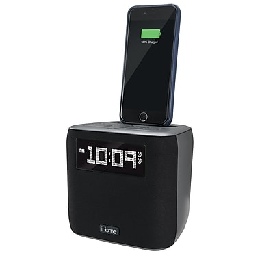 iHome iPL24 FM Stereo Clock Radio, Case-Friendly Lightning Dock, USB Charging Port