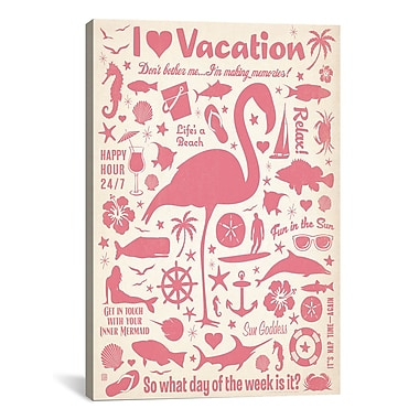 iCanvas I Heart Vacation by Anderson Design Group Graphic Art on Canvas; 40'' H x 26'' W x 0.75'' D