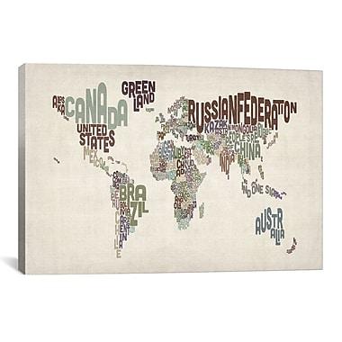 iCanvas Michael Tompsett 'Typographic World Map VI' Textual Art on Canvas; 18'' H x 26'' W x 1.5'' D