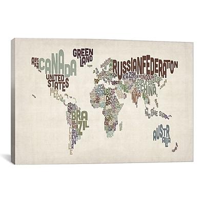 iCanvas Michael Tompsett 'Typographic World Map VI' Textual Art on Canvas; 26'' H x 40'' W x 1.5'' D