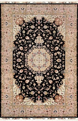 Pasargad Tabriz Hand-Knotted Black Area Rug