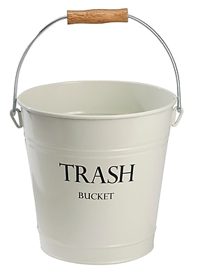 Pail Wastebasket Trash Can - Metal, Ivory (864)