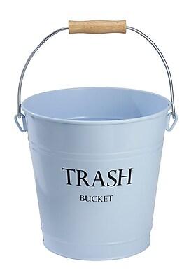 Pail Wastebasket Trash Can - Metal, Light Blue (865)
