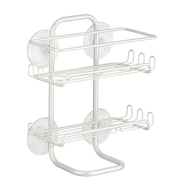 Classico Suction Bathroom Shower Caddy Shelves for Shampoo, Conditioner, Soap - Pearl White (60464)