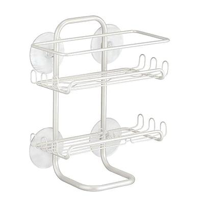 Classico Suction Bathroom Shower Caddy Shelves for Shampoo, Conditioner, Soap - Pearl White (60464)