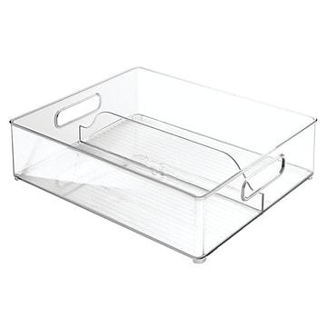 Refrigerator and Freezer Divided Storage Organizer Bins for Kitchen - 12  x 4  x 14.5 , Clear (70630)