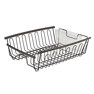 Axis Kitchen Dish Drainer Rack for Drying Glasses, Silverware, Bowls, Plates - Bronze/Clear (80281)