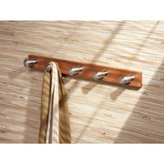 Formbu Wall Mount Entryway Storage Rack, Bamboo/Brushed Stainless Steel (93370)