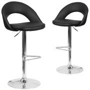 Flash Furniture Black Vinyl Rounded Back Adjustable Height Barstool with Chrome Set of 2 (CH-132491-BK-GG)