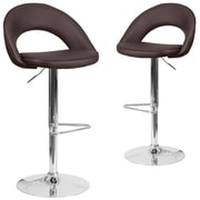 Flash Furniture Brown Vinyl Rounded Back Adjustable Height Barstool with Chrome Set of 2 (CH-132491-BRN-GG)