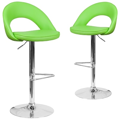 Flash Furniture Green Vinyl Rounded Back Adjustable Height Barstool with Chrome Set of 2 (CH-132491-GRN-GG)