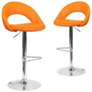 Flash Furniture Orange Vinyl Rounded Back Adjustable Height Barstool with Chrome Set of 2 (CH-132491-ORG-GG)