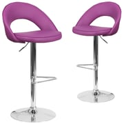 Flash Furniture Purple Vinyl Rounded Back Adjustable Height Barstool with Chrome Set of 2 (CH-132491-PUR-GG)
