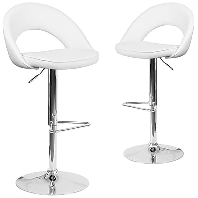 Flash Furniture White Vinyl Rounded Back Adjustable Height Barstool with Chrome Set of 2 (CH-132491-WH-GG)