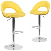 Flash Furniture Yellow Vinyl Rounded Back Adjustable Height Barstool with Chrome Set of 2 (CH-132491-YEL-GG)