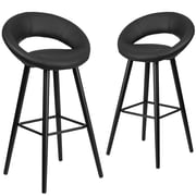 Flash Furniture Kelsey Series 29'' High Black Vinyl Barstool with Wood Frame, Set of 2(2-CH-152550-BK-VY-GG)