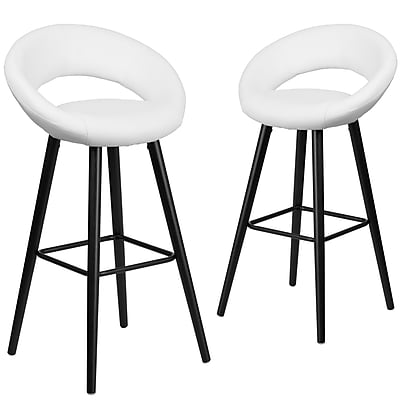 Flash Furniture Kelsey Series 29'' High White Vinyl Barstool with Wood Frame, Set of 2(2-CH-152550-WH-VY-GG)