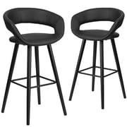 Flash Furniture Brynn Series 29'' High Black Vinyl Barstool with Wood Frame, Set of 2(CH-152560-BK-VY-GG)