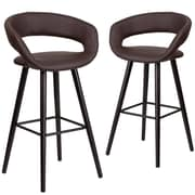 Flash Furniture Brynn Series 29'' High Brown Vinyl Barstool with Wood Frame, Set of 2(CH-152560-BRN-VY-GG)