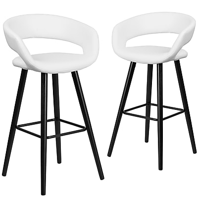 Flash Furniture Brynn Series 29'' High White Vinyl Barstool with Wood Frame, Set of 2(CH-152560-WH-VY-GG)