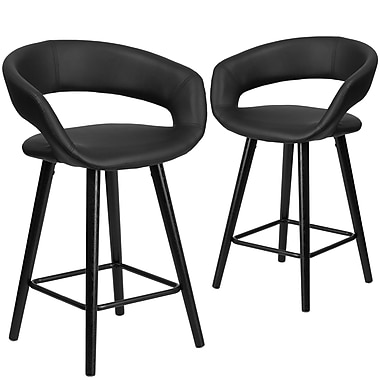 Flash Furniture Brynn Series 24'' High Black Vinyl Counter Height Stool with Wood Frame, Set of 2 (CH-152561-BK-VY-GG)