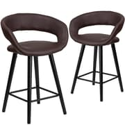 Flash Furniture Brynn Series 24'' High Brown Vinyl Counter Height Stool with Wood Frame, Set of 2 (CH-152561-BRN-VY-GG)