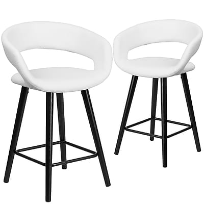 Flash Furniture Brynn Series 24'' High White Vinyl Counter Height Stool with Wood Frame, Set of 2 (CH-152561-WH-VY-GG)