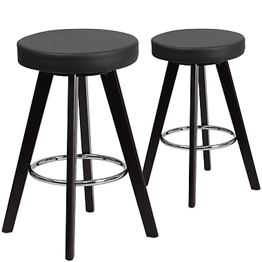 Flash Furniture Trenton Series 24'' High Black Vinyl Counter Height Stool with Wood Frame, Set of 2 (CH-152600-BK-VY-GG)