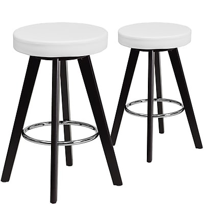 Flash Furniture Trenton Series 24'' High White Vinyl Counter Height Stool with Wood Frame, Set of 2 (CH-152600-WH-VY-GG)