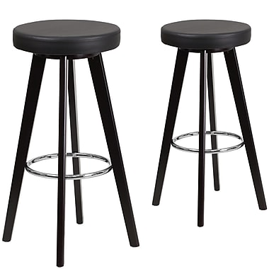 Flash Furniture Trenton Series 29'' High Black Vinyl Barstool with Wood Frame, Set of 2 (CH-152601-BK-VY-GG)