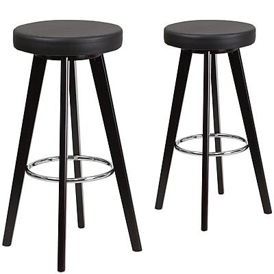 Flash Furniture Trenton Series 29'' High Black Vinyl Barstool with Wood Frame, Set of 2 (CH-152601-BK-VY-GG)
