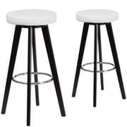 Flash Furniture Trenton Series 29'' High White Vinyl Barstool with Wood Frame, Set of 2 (CH-152601-WH-VY-GG)