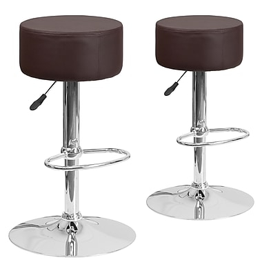 Flash Furniture Brown Vinyl Adjustable Height Barstool with Chrome Base, Set of 2 (2-CH-82056-BRN-GG)