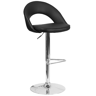 Flash Furniture Contemporary Black Vinyl Rounded Back Adjustable Height Barstool with Chrome Base (CH-132491-BK-GG)