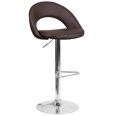 Flash Furniture Contemporary Brown Vinyl Rounded Back Adjustable Height Barstool with Chrome Base (CH-132491-BRN-GG)