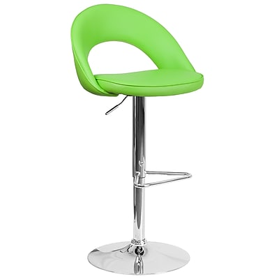 Flash Furniture Contemporary Green Vinyl Rounded Back Adjustable Height Barstool with Chrome Base (CH-132491-GRN-GG)