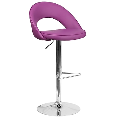 Flash Furniture Contemporary Purple Vinyl Rounded Back Adjustable Height Barstool with Chrome Base (CH-132491-PUR-GG)