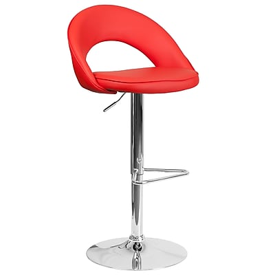 Flash Furniture Contemporary Red Vinyl Rounded Back Adjustable Height Barstool with Chrome Base (CH-132491-RED-GG)