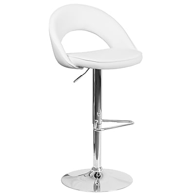 Flash Furniture Contemporary White Vinyl Rounded Back Adjustable Height Barstool with Chrome Base (CH-132491-WH-GG)