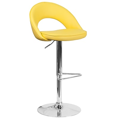 Flash Furniture Contemporary Yellow Vinyl Rounded Back Adjustable Height Barstool with Chrome Base (CH-132491-YEL-GG)