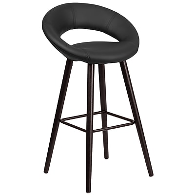 Flash Furniture Kelsey Series 29'' High Contemporary Black Vinyl Barstool with Cappuccino Wood Frame (CH-152550-BK-VY-GG)